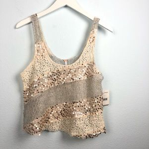 Free People cream sequin lace panel crop tank top